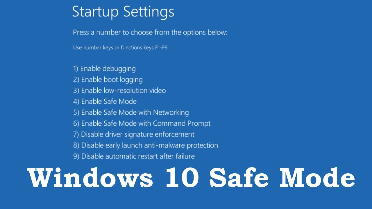safe mode win 10