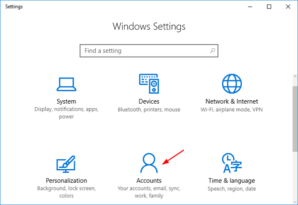 Change account settings windows 10
